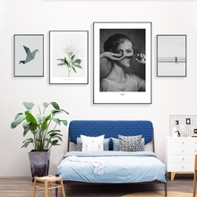 Flower Painting Nordic Poster Girl Bird Print Abstract Black And White Wall Pictures For Living Room Home Decor Unframed