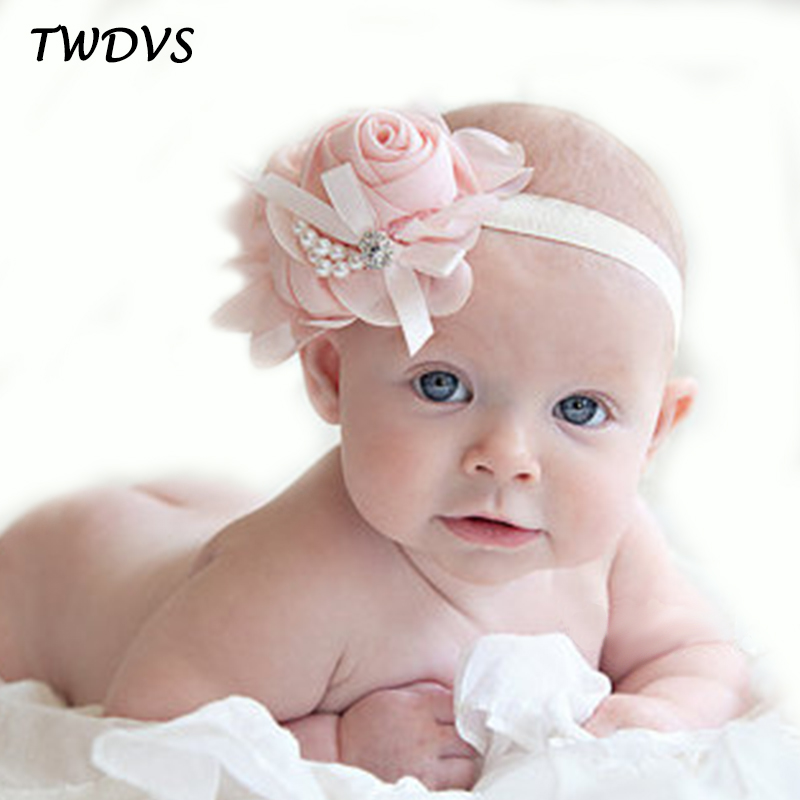 Newborn Cute Baby Pearl Rose Flower Hair Band Chiffon Lace Baby Headband Ribbon Elasticity Hair Accessories Headwear W075