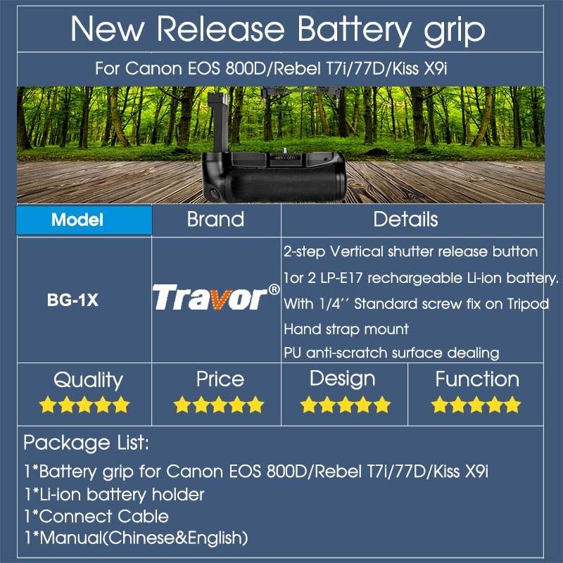 Travor Вертикальная Батарейная ручка держатель для Canon EOS 800D/Rebel T7i/77D/Kiss X9i DSLR камера работает с одним или двумя LP-E17 батареей