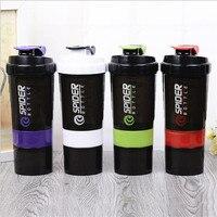 Hot 3 Layers Multifunction 600ml Food Grade PP Plastic Shaker Bottle Protein Shaker Blender Mixer Shaker
