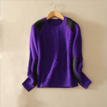 Women's casual pullover sweater with 100% pure cashmere applique cloth decor shoulder