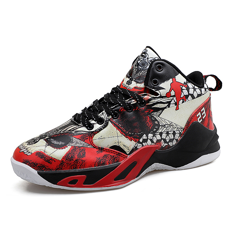 Boy Outdoor Shoes Red Basketball Sneakers Male Pu Leather Sneakers Men High Top Brand Gym Shoes Designer Basketball Shoes Sport 21