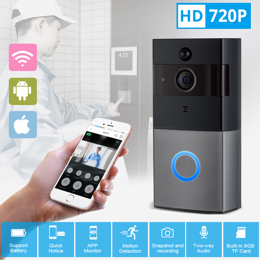 KERUI Video Intercom Doorbell 720P HD Wifi Security Camera Real-Time Two-Way Talk and Night Version Smart Wireless Doorbell two way cash window non visual intercom between the master and substation e361