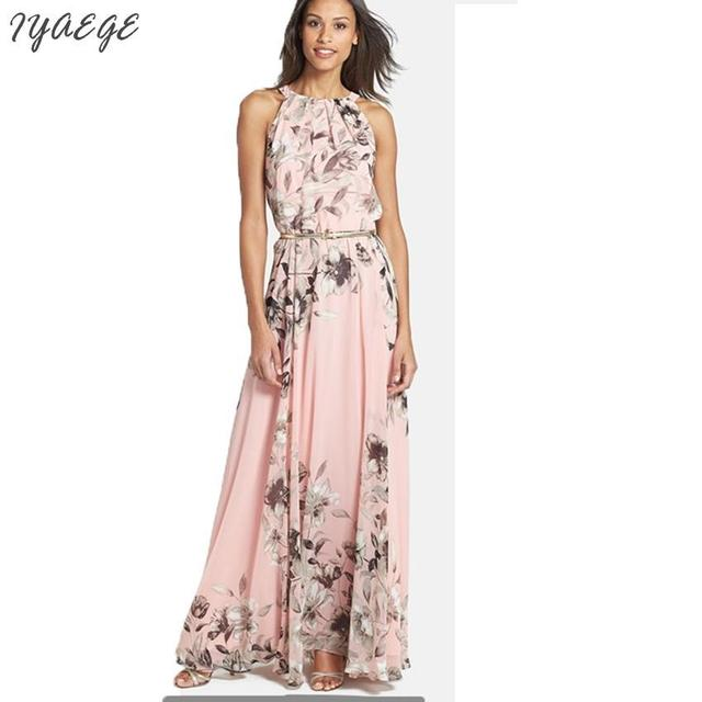 Summer Beach Maxi Dress Chiffon Halter Strapless Sashes Long Dress Pink  Women Floral Casual Mujer Romantic Party Dresses 2018 76a418489825