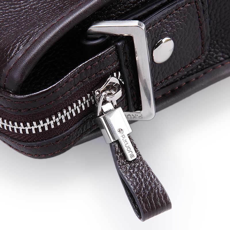 P. KUONE Сумка из натуральной кожи, известный бренд, мужская сумка через плечо, модная сумка на плечо, деловая дорожная сумка для мужчин, сумка-мессенджер