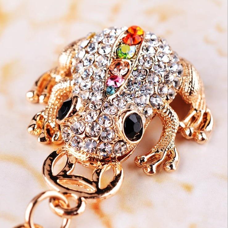 Trinket Cute Permata Tiruan Emas Syiling Katak Key Chain Car Keychain Mainan Haiwan Charm Bag Fesyen Key Ring Novelty Souvenir