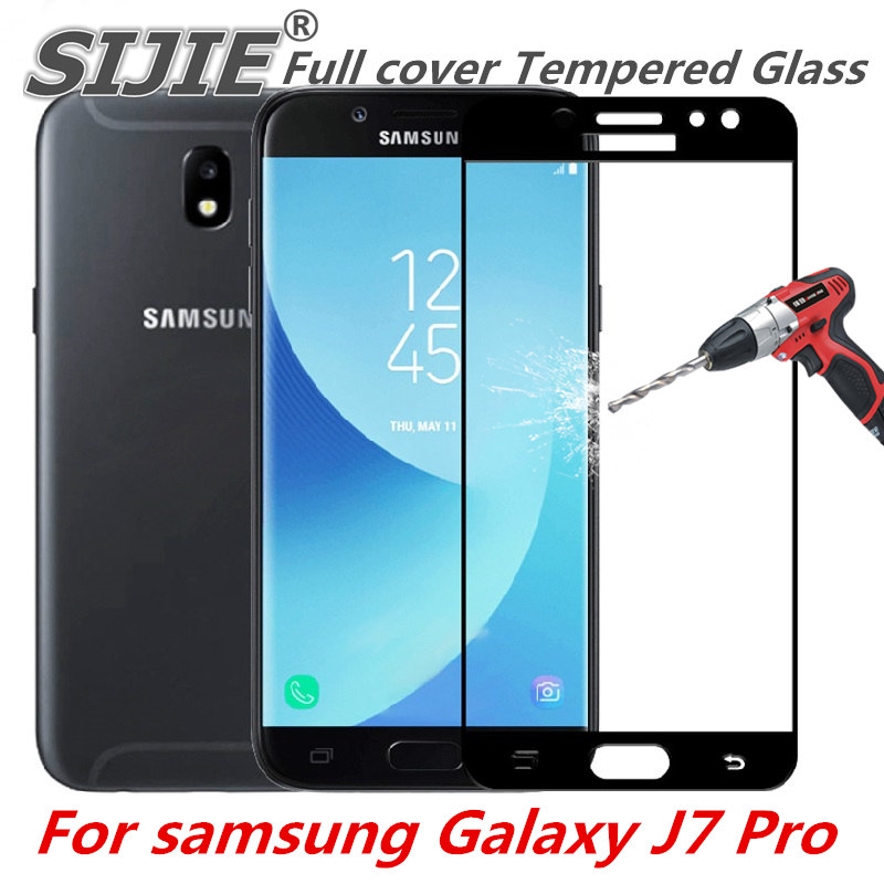 Full cover Tempered Glass For samsung Galaxy J7 Pro J730 J730F J730GM J730G Screen protective cover black 5.5 inch frame display