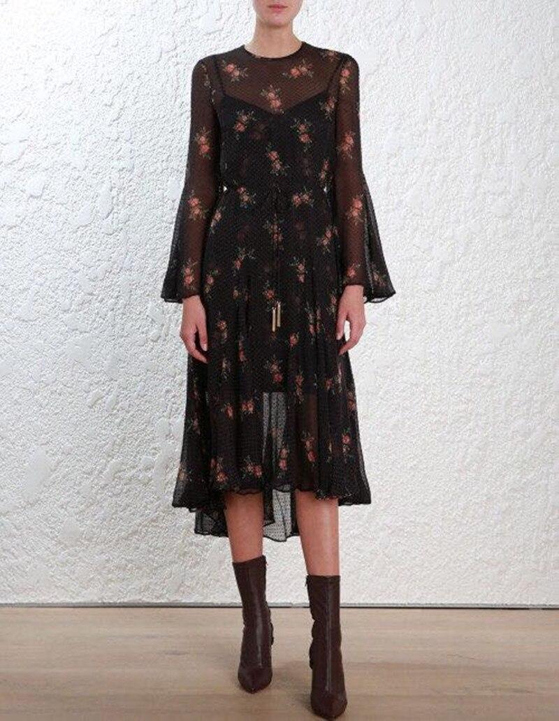 Robe Et Manches Goder Floral Soie Avec Jabot Slip 100 2 Noir Black Sexy Robes Longues Flare Gland Pcs Folie Midi Ensemble Or Imprimé IqTwnzt7