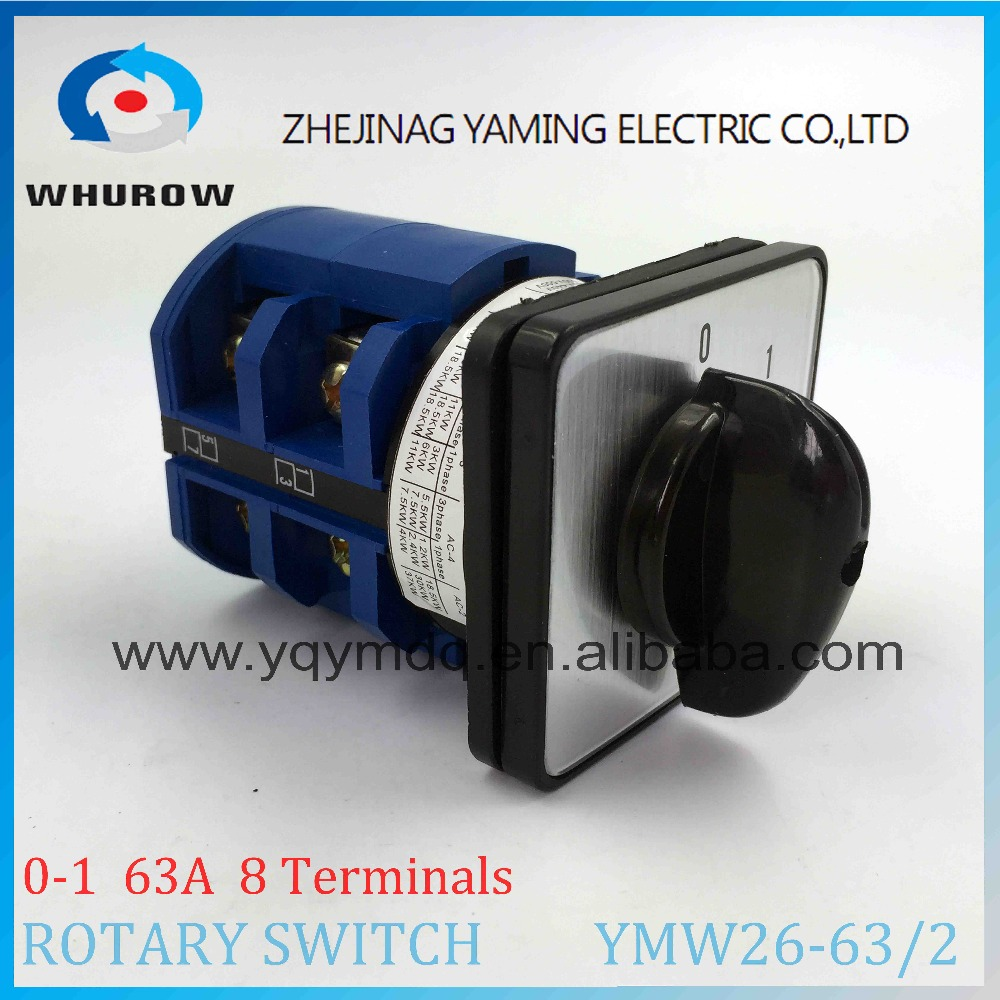 LW26 YMW26-63/2 Rotary switch 2 postion (0-1) OFF ON 690V 63A 2 pole 8 terminal screw universal changeover cam main switch 660v ui 10a ith 1 0 2 on off on universal rotary cam changeover switch