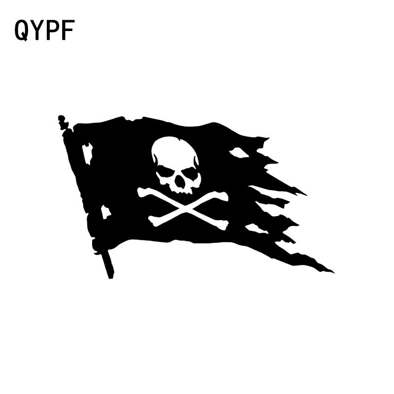 QYPF 15.8CM*9.3CM Jolly Roger Pirate Flag Fashion Vinyl Car Window Sticker Decal Black/Silver C15-0451