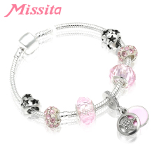 MISSITA Fashion Romantic Pink Star Charms Bracelet with Clear CZ Beads Bangle for Women Jewelry Brand Gift Hot Sale