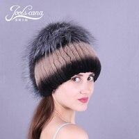 JOOLSCANAขนหมวกผู้หญิงฤดูหนาวหมวกธรรมชาติกระต่ายขนหมวกกับฟ็อกซ์pom pomหมวกในปัจจุบันที่ดีแบรนด์ใ...