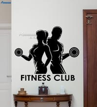 Fitness Club Wall Decal Sport Man Woman Gym Vinyl Sticker Art Home Decor Mural Bedroom Living Room Interior Decoration E650