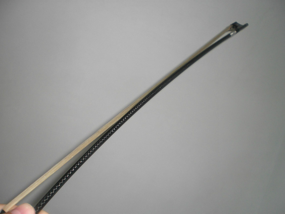 2 PCs Black Carbon Fiber Bow 4/4 Gribs inlay Ebony Frog Silver amounted 010# 4pcs of violin carbon fiber bow 4 4 nickel copper amounted with ebony frog white bow hair tail