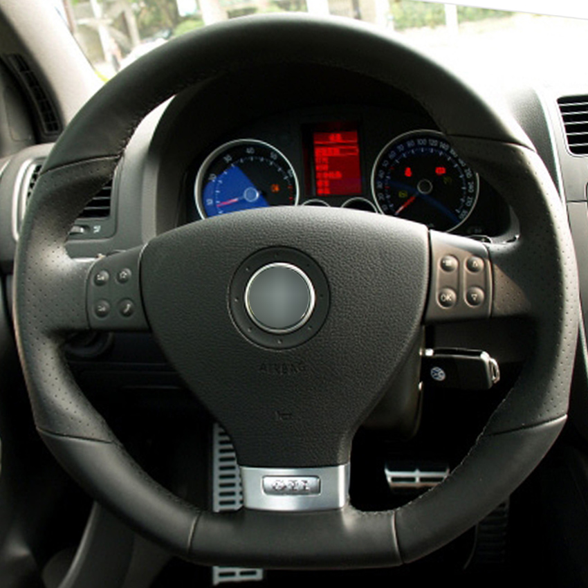 Black Leather Hand Stitched Car Steering Wheel Cover For