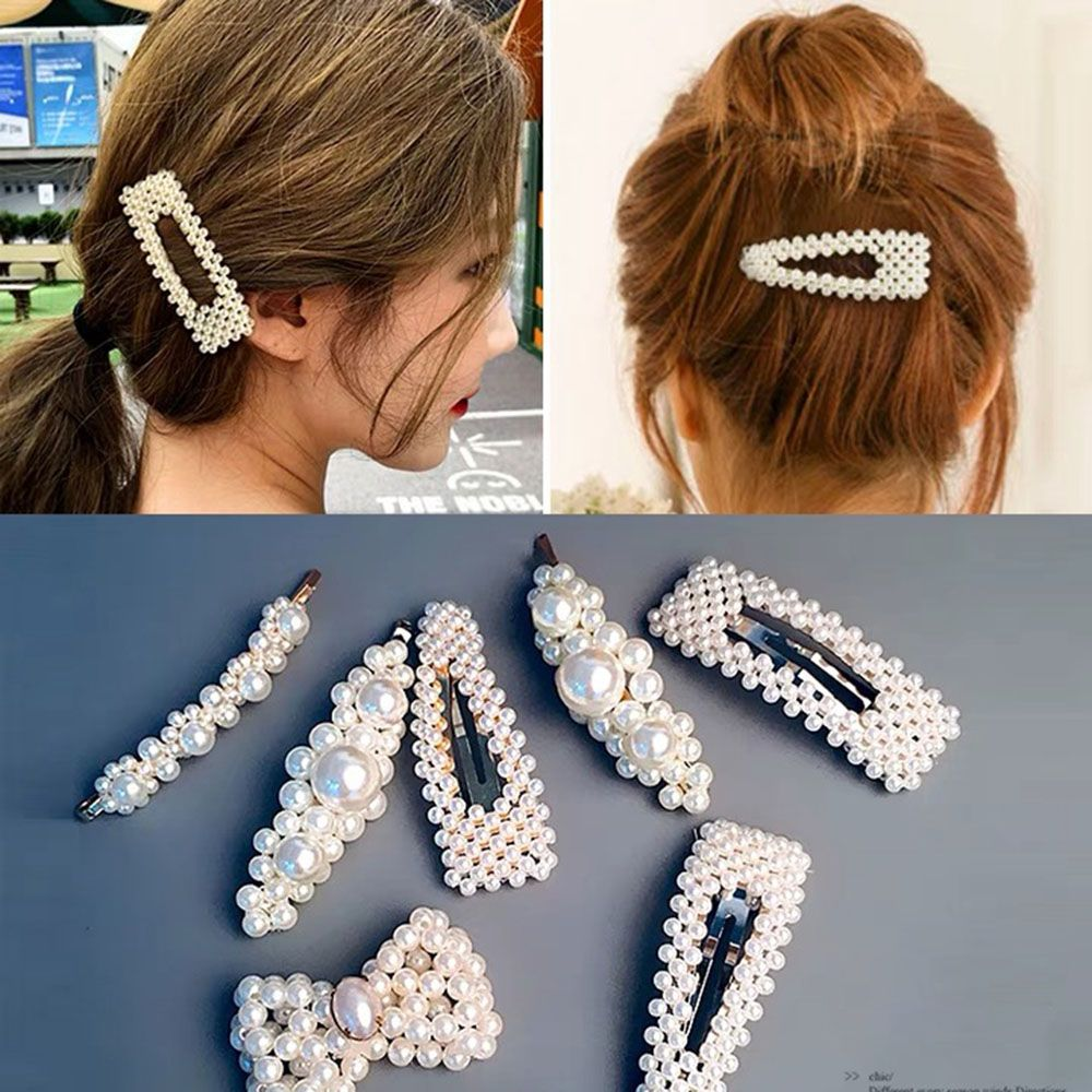 Women Ladies Korean Pearl Hair Clip Snap Barrette Stick Hairpin Hair Accessories
