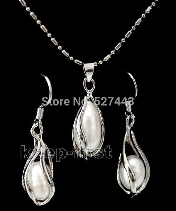 Wholesale 7-8mm white freshwater pearl jewelery set necklace & earring (A0423)