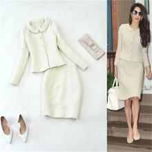 Fashion suit female autumn / spring new large size woolen tweed beige small jack