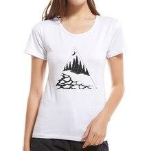 Новые горы женская футболка футболки с Луной Для женщин летние шорты с длинными рукавами Повседневная одежда простая безрукавка Топы Camiseta feminina
