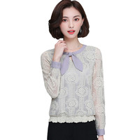 2017 New Long Sleeved Korean Wild Women Lace Shirt Casual Loose Peter Pan Collar Solid Preppy