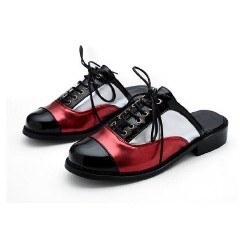 Plus Size 30-50 Woman Half Slides Flats Spring Summer Low Heel PU Patent Leather Women Sandals Fashion Oxford Shoes For Women (4)