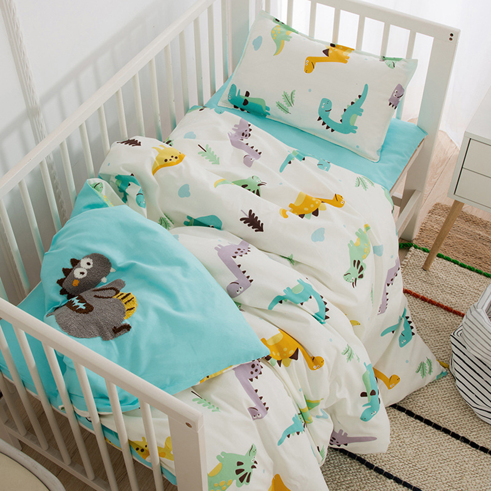 Baby Bed Organizer Cotton 3 Pcs Bedding Set Including Duvet Cover Pad Cover Pillowcase Cartoon Printed Baby Crib Bedding Set