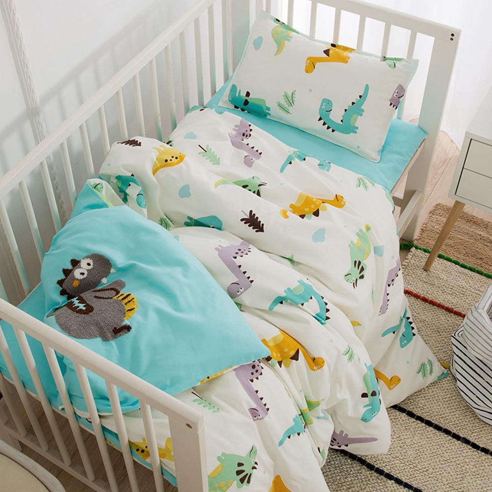 Baby Bed Organizer Cotton 3 Pcs Bedding Set Including Duvet Cover Pad Cover Pillowcase Cartoon Printed Baby Crib Bedding Set