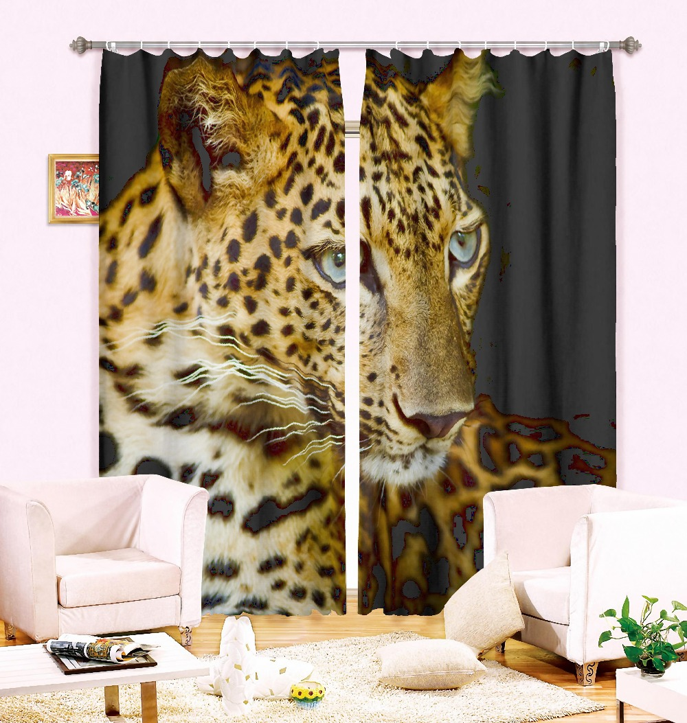 2 Panles Set Animal Style Modern Luxury 3d Curtains Leopard