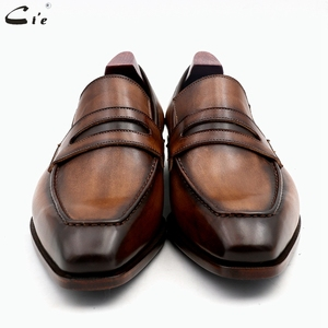 Image 3 - cie square toe patina hand painted calf leather bespoke leather men shoe handmade calf leather breathable mens boat loafer LO05
