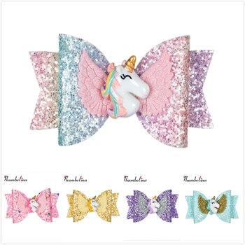Poupée 3.5 pouces licorne avec ailes pinces à cheveux paillettes arcs avec Clip danse fête arc pince à cheveux filles accessoires de cheveux