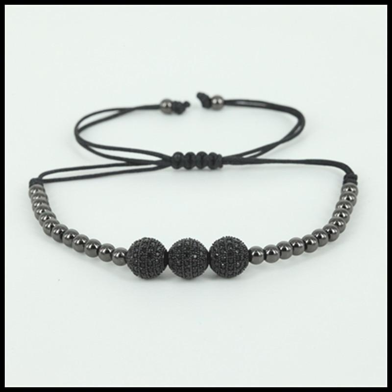 1pcs Anil Arjandas Charms Men Jewelry 4mm round copper Beads Black 8mm Micro pave CZ Zircon Beads Macrame Bracelet Men