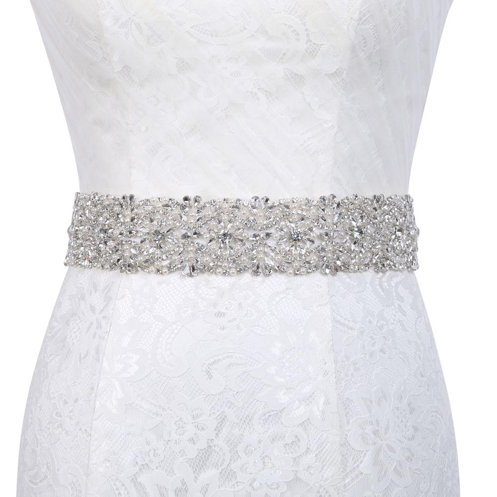 Inofinn Crystal Wedding Belts Satin Rhinestone Wedding Dress Belt Wedding Accessories Bridal Ribbon Sash Belt 102#