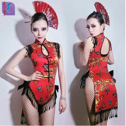 Stage Costumes Singers Bodysuit Clothing Female Sexy Nightclub Dj Clothing Cheongsam Tassel Conjoined Ds Performance Clothing