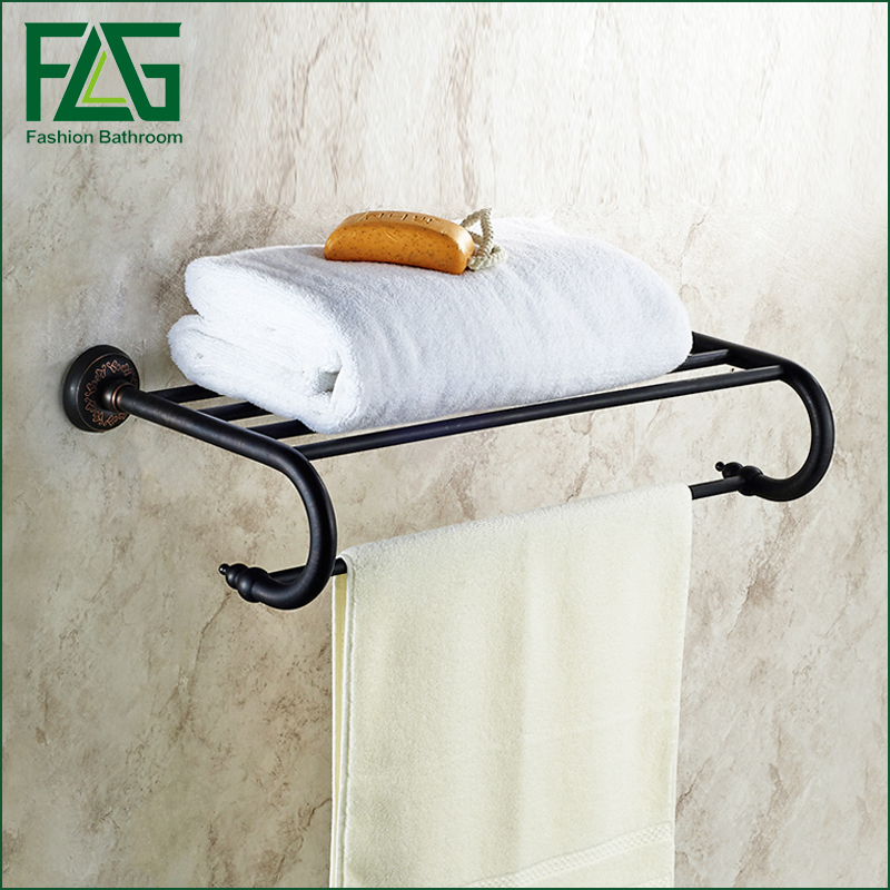 все цены на FLG Wall Mounted Bathroom Towel Rack Holder Black Towel Racks Bathroom Dupla Towel Hanger онлайн