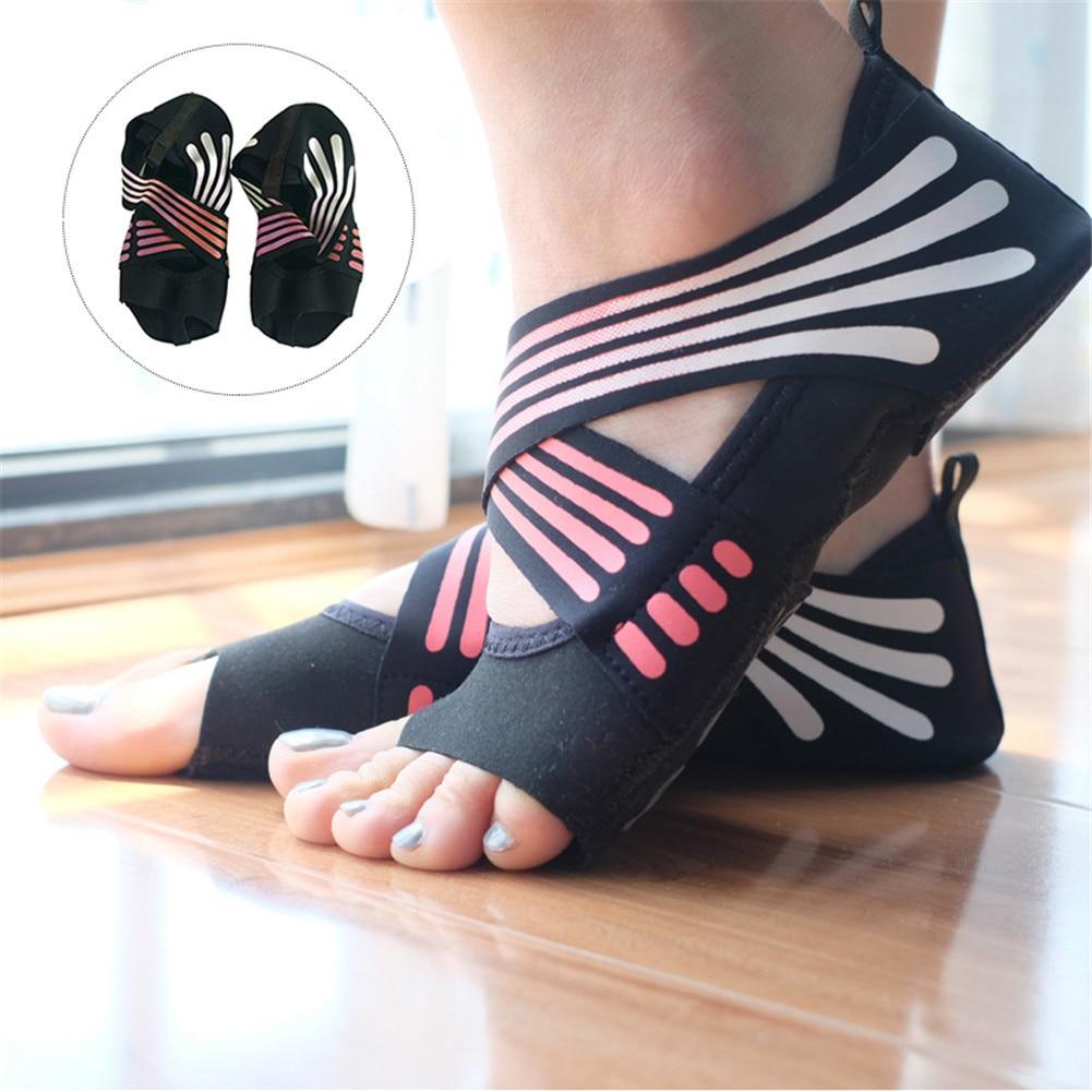 Women's Half Toe Five-Toe Grip Non-Slip Soft Soles Professional Ballet Yoga Socks Pilates Shoes non slip toeless yoga socks with grip for women