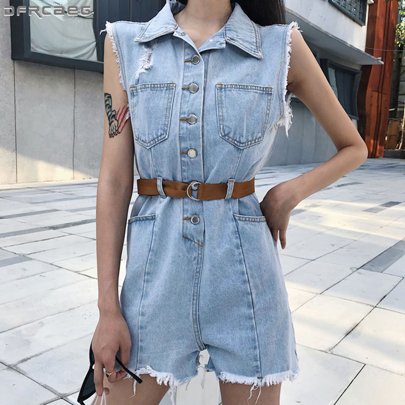 Harajuku Ripped Denim Playsuit Women Hollow Out Holes Bodycon   Jumpsuit   Short Chic Fringe Overalls Sleeveless Summer Jean Rompers
