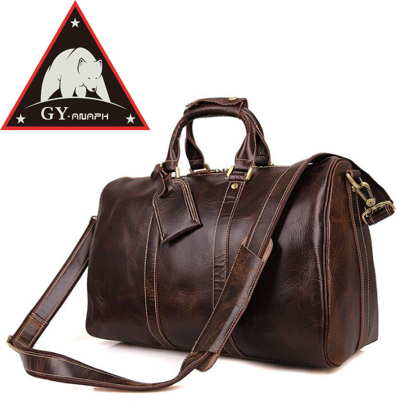 ANAPH Holdall/ Men's Italian Leather Weekender Travel Duffle Bags Fit 17 Laptop/Cabin Bag/ Carry On Luggage In Coffee