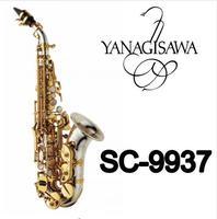 Yanagisawa SC 9937 Small Curved Neck B B Tune Silvering Brass Soprano Saxophone Professional Instrument For