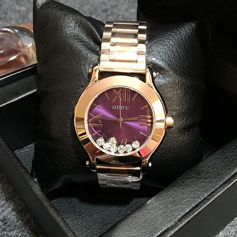 GUOU Wristwatches Quartz Watches Waterproof Women s Watches Fashion Stainless Steel Band High Grade Quicksand Diamond