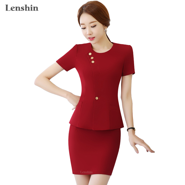 294b26dd113 2 Pieces Sets Summer Chinese Style Red Skirt Suit Short-sleeve Blazer  Jacket   Skirt