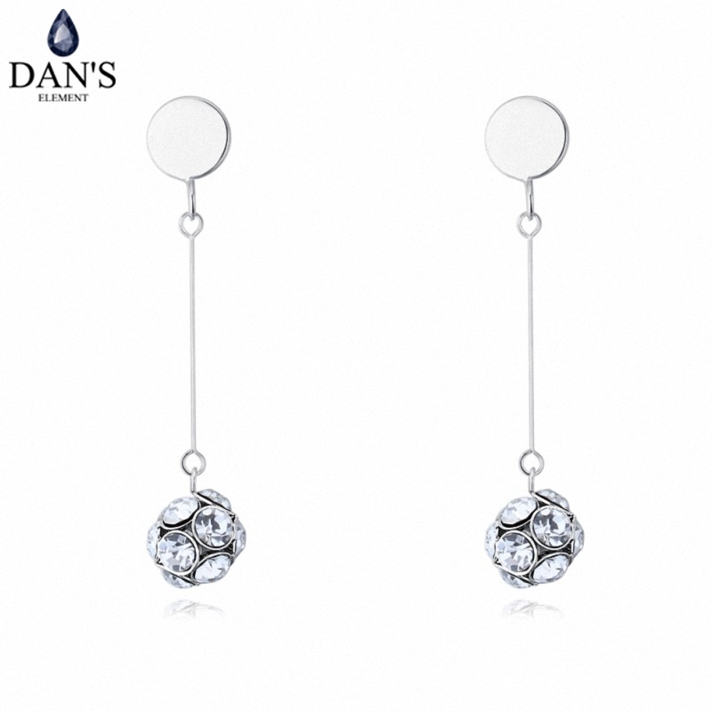DANS 3 Colors Real Austrian crystals Stud earrings for women Earrings s New Sale Hot Round 128974