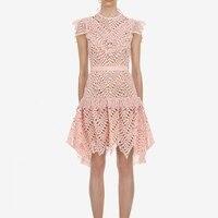 Self Portrait 2019 Spring Pink Dress Runway Women High Waist Lace Dresses