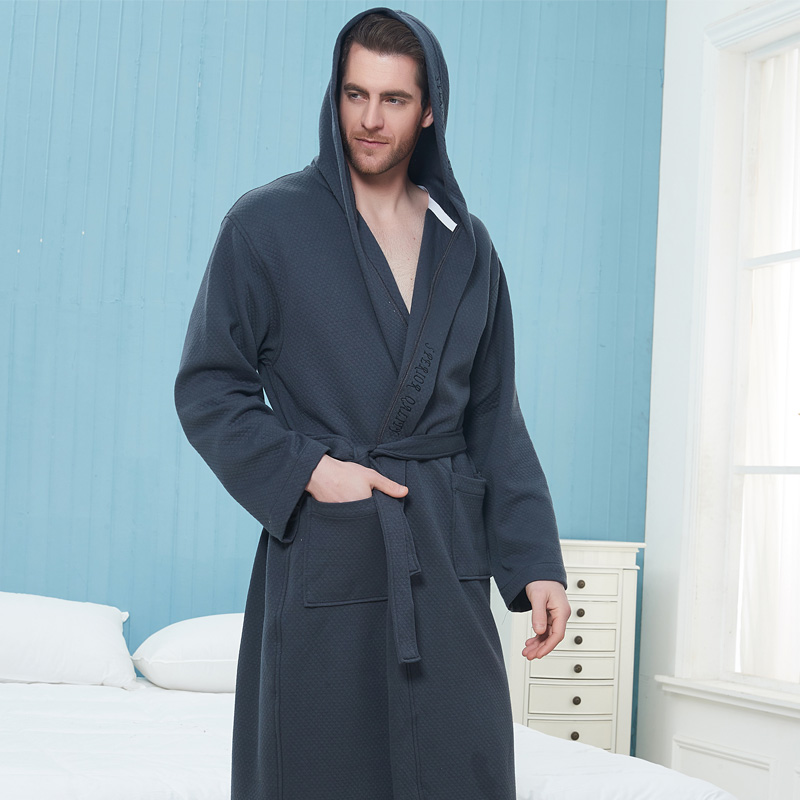 Winter Thickening Warm Flannel Hooded Bathrobe Men 100% Cotton Gown Kimono Bathrobe Male Sleepwear Nightgown Homme Autumn Winter
