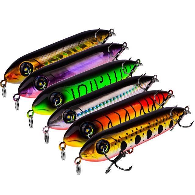 1pcs Snake Head Pencil Bait 6 Colors 10.2cm/11.5g Fishing lure Floating Crankbait Sea Bass Pike Topwater 3D Eyes Plastic Wobbler 1