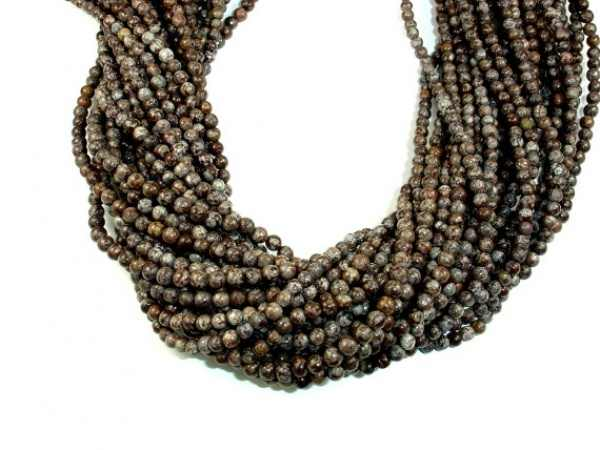 Fashion Diy Loose beads  4mm 15.5 Inch Full strand Approx 97 Hole 1mm Snow Snowflake Obsidian Beads Necklace