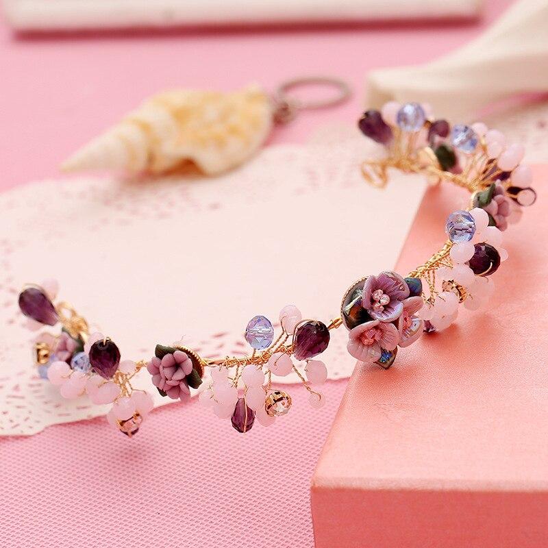 Aliexpress Buy Purple Flower Hair Jewelry Popular Handmade Pearl Tiaras Soft Headband Fashion Crown Bridal Wedding Accessories Women Headpiece From