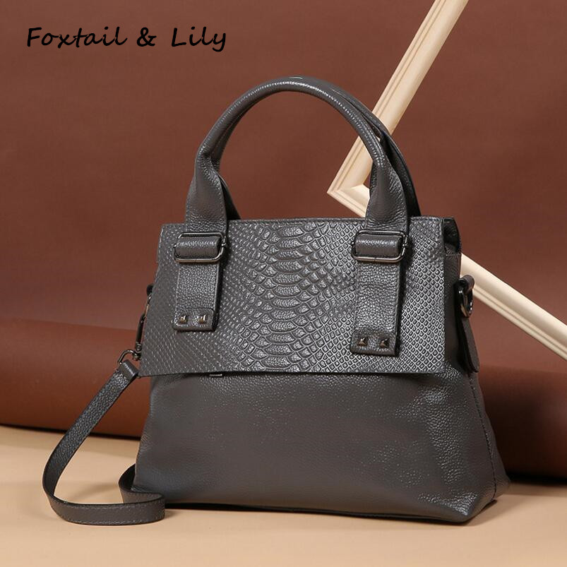 Foxtail & Lily 2018 Luxury Crocodile Bags Real Leather Handbags Designer Tote Shoulder Bag Genuine Leather Female Messenger Bags