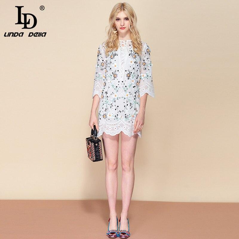 LD LINDA DELLA Fashion Designer Summer Dress Women s Flare Sleeve Floral Print Sequined Beading White