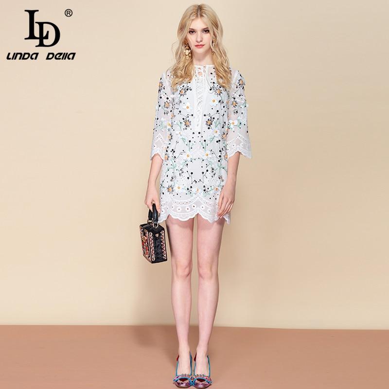 LD LINDA DELLA Floral Print Sequined Dress 2019218