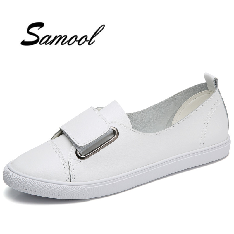 Soft Leather White Shoes Women Flats Fashion Ladies Loafers Casual Womens Brand nurse shoes beauty hospital dance shoes lx5 fashion womens shoes warm winter cotton shoes tennis feminino casual girl shoes comfortable ladies flats long plush women flats